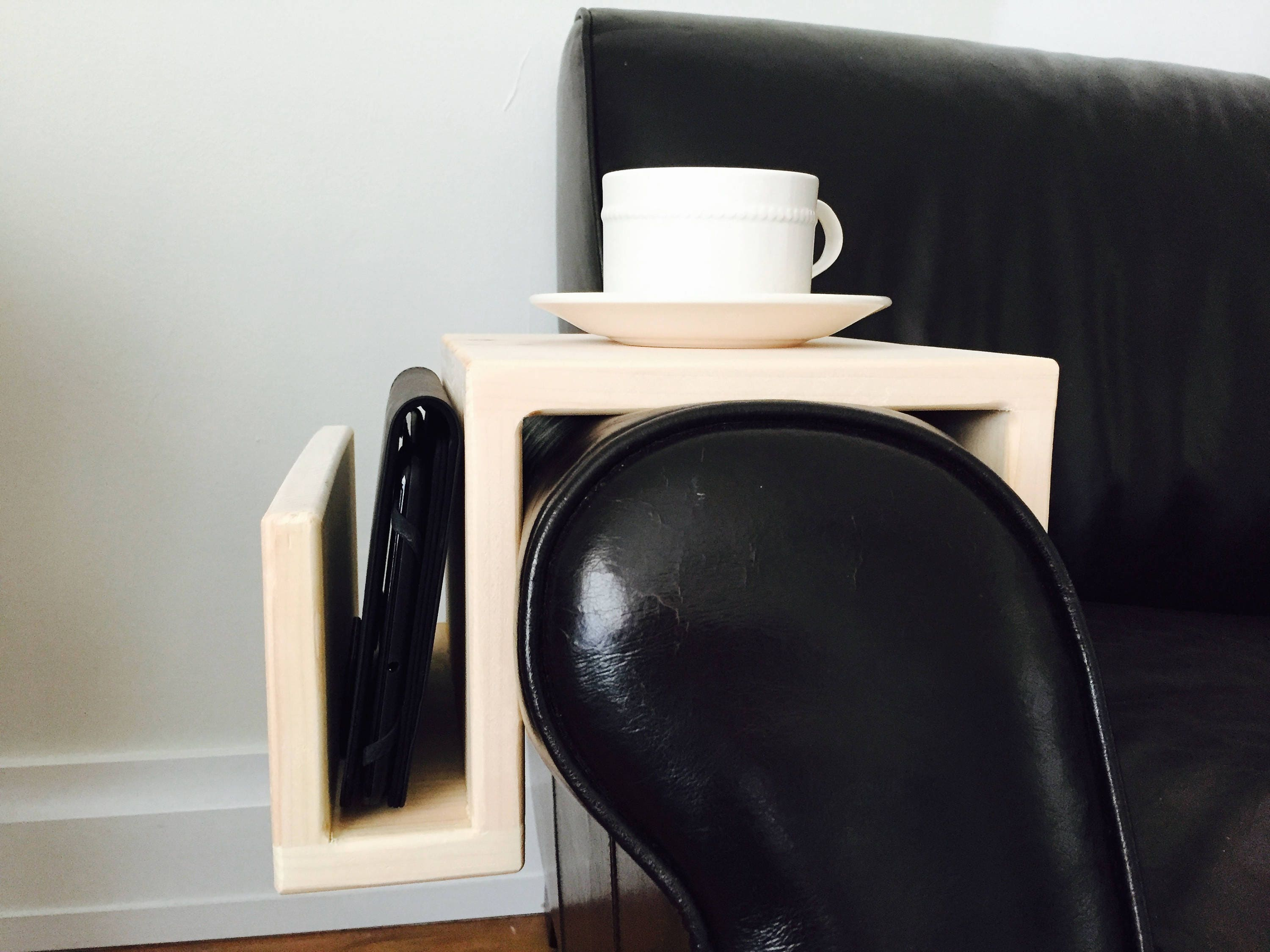 Sofa Caddy Raw Wood Couch Arm Wrap arm rest tray couch ipad