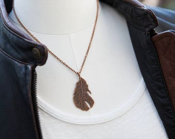 Delicate Feather Necklace, Coachella, Boho, Fesitval Jewelry, Feather Pendant, Large Feather, Pendant Feather, Copper Necklace