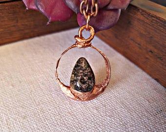 "Copper Electroformed Lodolite ""Garden"" Quartz Crystal Necklace"