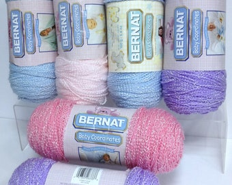 Bernat Baby Coordinates Yarn Sweet Pink Lovely Lilac Baby Pink Soft Blue Sparkling Yarn Textured Wavey Shimmering Yarn for Baby Accessories