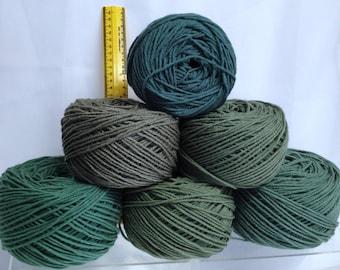 Hosta Green Yarn, Worsted Yarn Bundle, Crochet Flower Leaves Material One Skein Wonders Yarn Fiber Art Bundle of Yarn Cakes Green Tea Colors