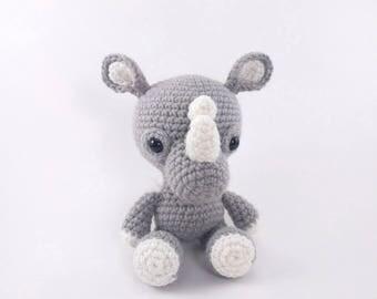 PATTERN: Crochet rhino pattern - amigurumi rhinoceros pattern - crocheted rhino pattern - PDF crochet pattern - English only