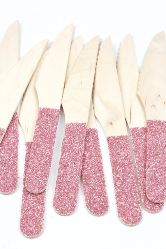 Wood Glitter Knife, Blush Pink Glitter Silverware Pink Glitter Utensils Disposable Party Supply Biodegradable Decorative Tableware Settings