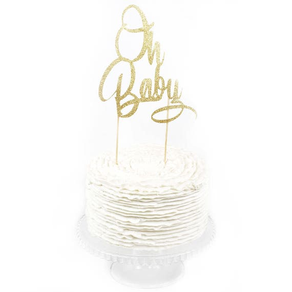 Oh Baby Gold Glitter Cake Toppers, Toothpick Cake Topper, Gold Cake, Gold Glitter Baby Cake Topper, Baby Shower Cake Topper Girl Boy