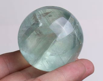 Natural Green Fluorite Quartz Crystal Sphere Ball Healing, Crystals and Minerals , Wiccan Pagan Crystal J710