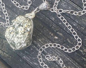 Crystal Necklace,Large Pyrite Necklace, Fools Gold, Crystal Jewelry, Boho Necklace, Gypsy necklace, Firestone Necklace, Shaman Necklace
