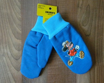 Walt Disney Productions, Blue Insulated Mickey Mouse Mittens, Water Resistant Mitts, Fleece Insulated, Kmart, Troy Michigan