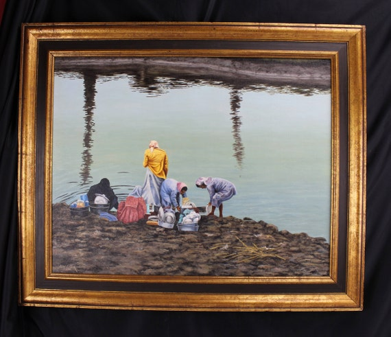 Oil Painting Landscape Indigenous People Women Washing Dishes From River, Medium