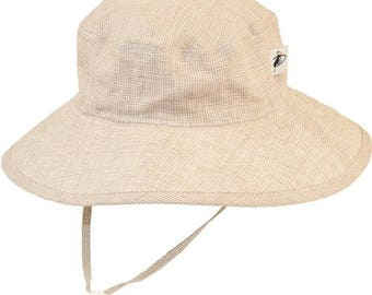 Child's Sun Protection 100% Linen Sunbaby Hat - Summer Day Linen in Natural Check (6 month, xxs, xs, s, m)