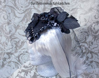 Fascinator, Headdress, black and white with pearls, flowers, lace and tulle, Gothic, Lolita