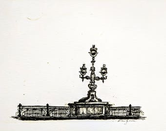 8x10 Art Print, Trinity Bridge St. Petersburg, Russia, Architecture, Minimalist art, Sketchbook, Original Artwork, Art Prints, Ink Drawing