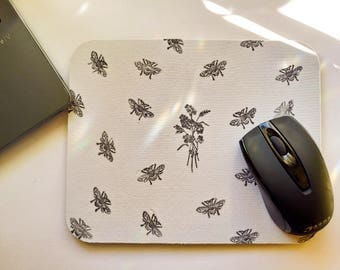 Bee Mouse Pad, Mouse Pad, Mouse Mat, Thick Mouse Pad, Computer Accessories, Office Accessories, Floral Mouse Pad, Desk Accessories,