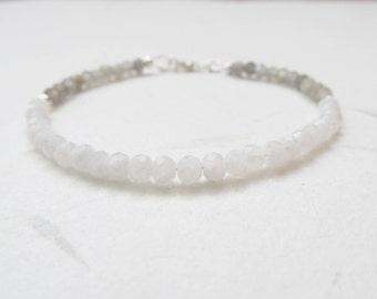 Moonstone bracelet, labradorite bracelet, yoga bracelet, fine bracelet