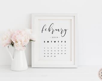 February Calendar 2018 Print — Pregnancy Announcement Printable Wall Art Newborn Print Black And White Monthly Calendar INSTANT DOWNLOAD