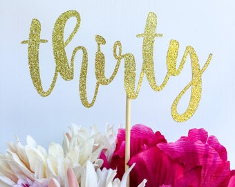 Thirty cake topper | Thirty | 30 cake topper | Number cake topper | Age cake topper | Glitter cake topper