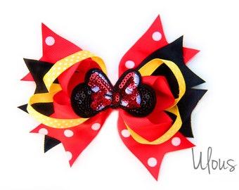Minnie Mouse Hair Bow, Minnie Mouse Hair Clips, Disney Bow, Mickey Mouse Bow, Disney Hair Clip, Mickey Mouse Hair Clip, Pink Disney, Clips