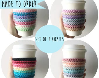 Rainbow Coffee Cozies, Cup Cozies, Coffee Cozies, Cup Sleeves, Crochet Coffee Cozies, Coffee Sleeves, Rainbow Coffee Sleeves, Coffee Cosies