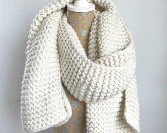 Chunky Knit Super Scarf, Oversized Long Scarf, Soft and Cozy Long Knit Scarf, Oversize Knit Wrap Scarf, Oversized Knit Cream Scarf, White