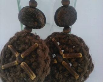 Crochet linen earrings - Bohemian jute jewelry