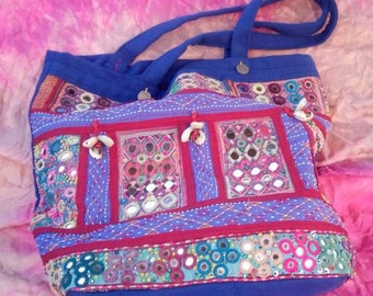 Blue Banjara Shoulder Bag, One-of-a-kind, Tribal, Ethnic, Colorful,