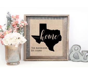 Texas Home Sign, Personalized Texas Art, Texas or Any State, Burlap Print or Fine Art Print