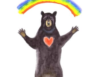 "Get Well Soon Card: ""Rainbow Bear"". By Laura Robertson"