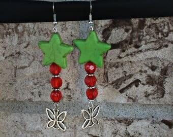 Green Howlite Star Dangle Earrings, Valentine's Day Gift