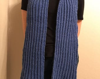 Knit Blue Ribbed Scarf