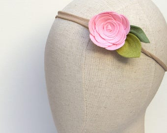 candy pink single felt flower headband / nylon headband / wool blend felt / handmade felt flower / baby, newborn, photography prop
