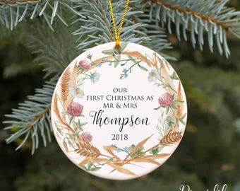 Our First Christmas Ornament Our First Christmas Married Ornament Wedding Christmas Ornament Rustic Country Wedding Gift Personalized Gift