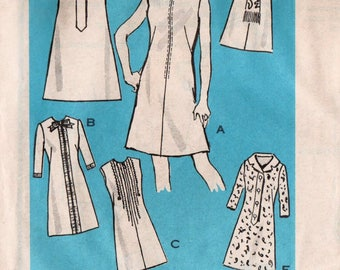 "Plus Size Dress Pattern Plus Size Vintage A-line Dress 6 Different Ways MAIL ORDER 9313 bust 43"" Zipper Dress Mod Dress Pattern 1960s Dress"