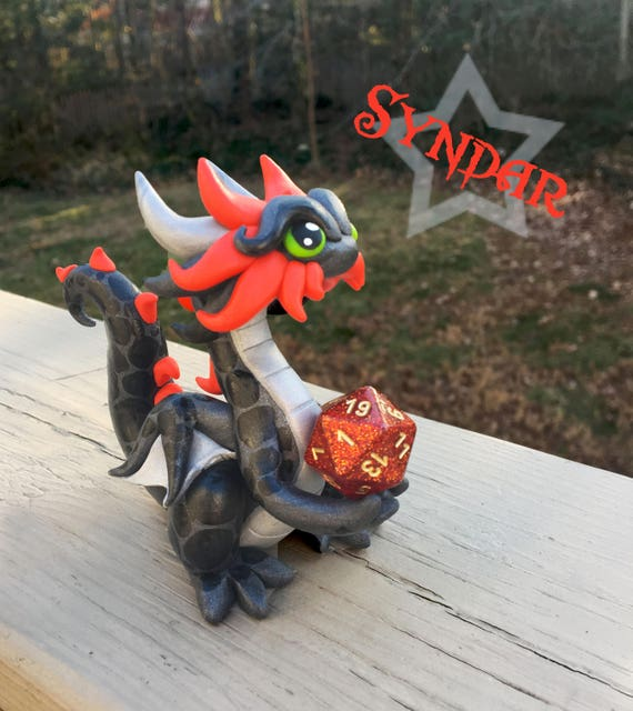 Polymer Dragon Dice Holder- Gunmetal Gray, Silver, and Red Dragonling: Syndar