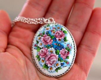 """Russian  pendant """"Ivushka""""  Finift Rostov enamel  hand made new"""