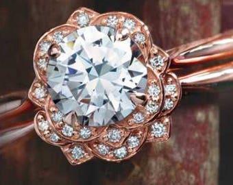 14K Rose Gold  Vintage Inspired Floral Halo Style Bridal Set - Flower Engagement Ring Set - 14K Rose Gold 6.5mm Forever One Moissanite Set