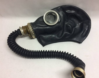 Black gas mask GP-5 with black rubber hose tube Russian Soviet gas mask black hose Fetish Steampunk