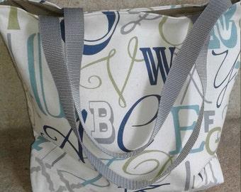 Caligraphy Tote, 14 x 12 x 4, Small Tote Bag, Diaper Bag, Market Tote, Library Tote, Purse, pocketbook, bag, tote bag, Off White Canvas Tote