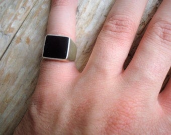 925% Silver and black agate ring chevalier square, pinky ring, ring unisex, men's ring, ring