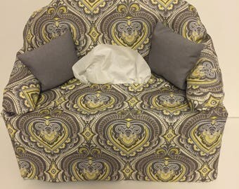 sofa couch tissue box cover- -yellow and gray