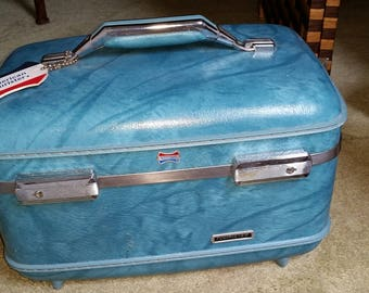 Vintage American Tourister Train Case, Turquoise