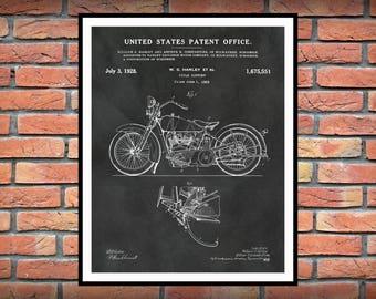 1928 Harley Patent Print Vers #2 Vertical Harley Motorcycle Patent Print - Harley Davidson Poster - Hells Angels - Harley Hog - Harley Decor