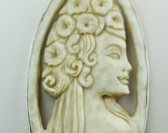 HELEN Of TROY Cameo TOTEM Goddess Face Moon Face Bone Carving 925 S0LID Sterling Silver Pendant + 4MM Chain p4314