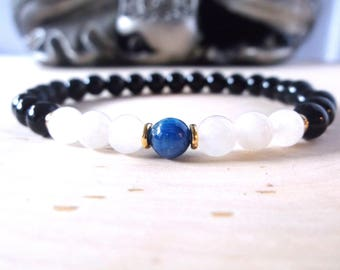 Kyanite and black onyx bracelet mala, genuine stone, stretch bracelet, yoga bracelet, spiritual jewelry, chakra bracelet, genuine stone