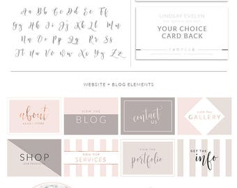 Photography Brand Package, Rose Gold Photographer Logo Kit, Custom Logo, Premade marketing package, Stamp watermark Calligraphy, 049