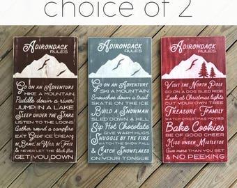 Adirondack Rules Bundle - Two Signs - Adirondack Decor - Mountain Decor - Cabin Decor - Lake Decor - Wood Sign - Family Rules - Cabin Rules