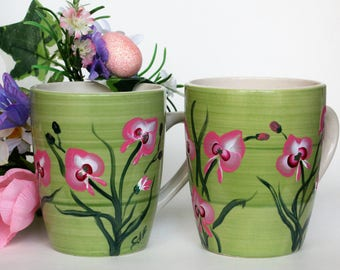 Hand Painted Mug Set, Orchids, Pair