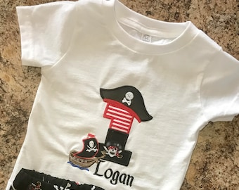 Pirate Shirt with number and name on shirt - Personalized! Pirate boat and Skull Hat