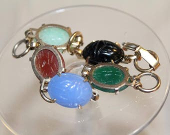 Vintage Collectible Oval Glass Scarab Bracelet Jewelry Egyptian Revival Cabochon
