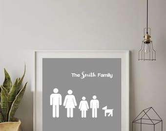 Framed Wall Art Personalised Stick Family Print 25cm x 25cm