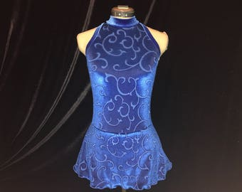 Royal Blue Ice Figure Skating Competition Dress Girls SMALL, MEDIUM, LARGE and Adult Sm 4 - 6