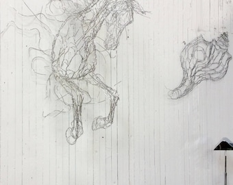 """Cloud Horse 36"""" Leaps out of Wall Wire Sculpture"""